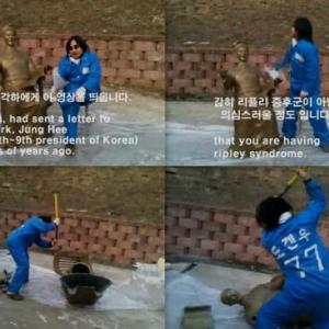 李大統領の銅像をハンマーで破壊 韓国人作家のパフォーマンスがなんだか怖い