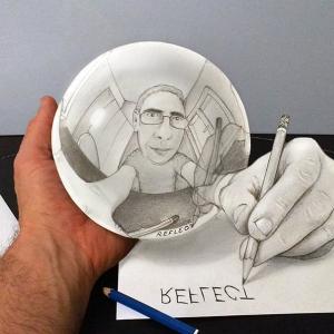 人間の目の錯覚って不思議 紙と鉛筆だけで描くトリックアートがまさにイリュージョン