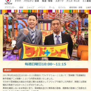 「真偽を確認しないまま放送に至り」 宫崎駿監督引退に関する発言の紹介でフジ『ワイドナショー』がお詫び