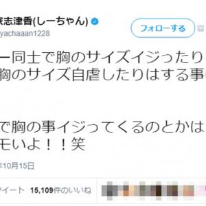AKB48大家志津香「握手会での胸イジり結構キモいよ」→クソリプ殺到! 「アイドルに人権ない」「普通にセクハラ」