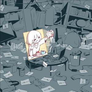 「今の世の中を表している」 汚部屋でキレイな自撮りをする女子のイラストにさまざまな感想