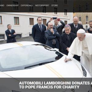 ランボルギーニのローマ教皇モデルがオークションへ 思わずひれ伏しそうになる神々しさ