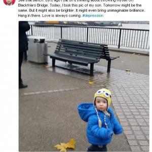 息子の写真を撮った場所は8年前に自殺を考えた公園のベンチの前 生きていればきっと良い事はある