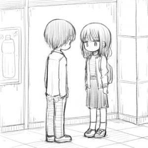 無表情で黙っている男女に「謎」という声も…… 駅の改札で微妙な雰囲気で向き合うカップルのイラストに「めっちゃいる」と賛同集まる