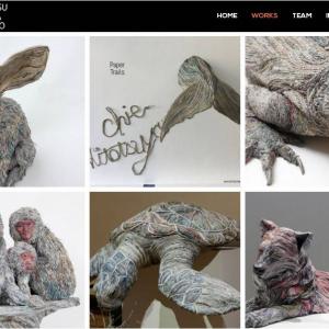 生命感あふれる動物達 新聞紙で作ったアートというのが信じられない