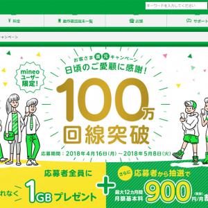【格安スマホ・格安SIM】『mineo』が100万回線を突破! 記念に月額900円割引を1万名以上に還元するキャンペーンを実施[PR]
