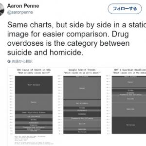 がんで死ぬ人の方がずっと多いのにマスメディアがテロばかり大きく扱うのはなぜ? チャート比較で偏りが明らかに