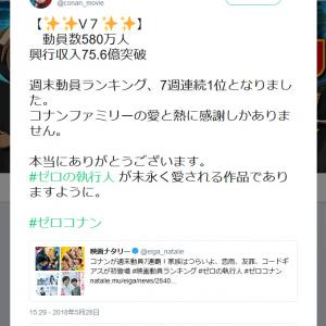 映画「名探偵コナン ゼロの執行人」が興行収入V7達成! 4Dでの上映を希望するファンも多数