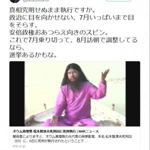 山本太郎参議院議員「真相究明せぬまま執行ですか」松本智津夫死刑囚の死刑執行で安倍政権を批判