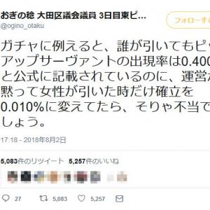 東京医大が説明なしに女子受験者を一律減点 おぎの稔・大田区議がFGOガチャにたとえてツイートし話題に