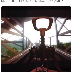 ジェットコースターに初めて乗ったワインオープナーが大喜び!