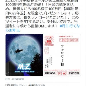 ZOZO前澤社長「100名に100万円 総額1億円のお年玉」ツイートでフォロアー数が大激増!
