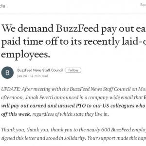 解雇した社員達の有給買い取りを拒否していたBuzzFeed 最終的には有給を買い取ることで労使関係修復