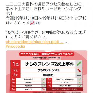 「細谷伸之」「氷村ふぁねる」など「けものフレンズ2炎上事件」関連ワードが『ニコニコ大百科』ランキングを席巻!