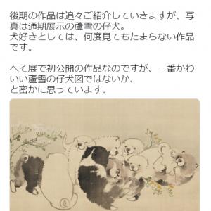 """『へそまがり日本美術展』で初公開のゆるすぎる""""蘆雪の仔犬図""""に「手のひらでコロコロしたいくらい可愛い」の声"""