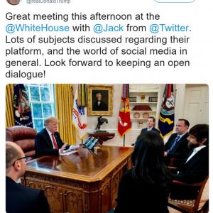 トランプ大統領 『Twitter』創業者のジャック・ドーシーに面と向かってクレームを入れる
