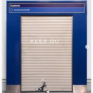 バンクシーの新作がロンドンの王立芸術院で公開 ヒースロー空港のゲート出入り口に描かれた1匹のネズミでイギリスのEU離脱を風刺