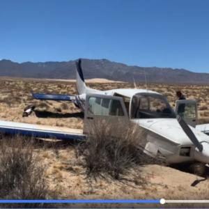 動画:エンジンの停止した飛行機が砂漠に不時着 乗客が一部始終を撮影していた