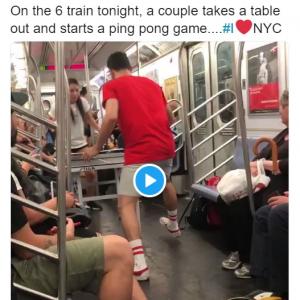 地下鉄の中で卓球? 寛容なニューヨーカーもダメ出し派多し
