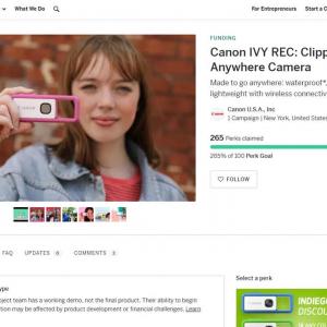 キヤノンのカラビナ型ウェアラブルカメラ「Canon IVY REC」がindiegogoで予約販売を開始 アーリーバードは即完売に