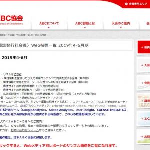 新聞・雑誌系ウェブメディアのページビュー上位5サイトは? 日本ABC協会が2019年第2四半期のウェブメディアUU・PV数を発表