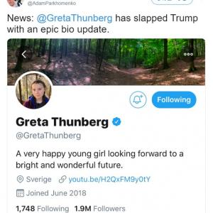 トランプ大統領の皮肉を受けてTwitterのプロフィールを変更したグレタ・トゥーンベリさん 「最高の引用だね」