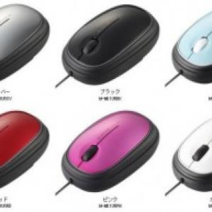 """""""マウスの中""""にコードがキレイに収納できる3ボタン付き光学式マウス"""