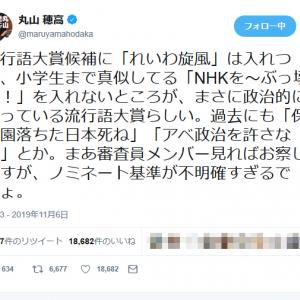 「れいわ旋風」を入れて「NHKをぶっ壊す!」を入れない新語・流行語大賞候補に丸山穂高議員が疑問を呈する