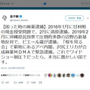 金子勝教授「『桜を見る会』で窮地にあるアベ内閣。沢尻エリカが合成麻薬MDMAで緊急逮捕」