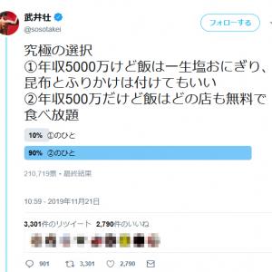 「年収5000万円だけど◯◯」「年収500万円だけど◯◯」 武井壮さんの究極の選択アンケートに反響