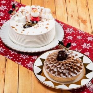 クリスマス特別セール実施中!! レアチーズ&ベイクドチーズの2層構造『ダブルチーズケーキ 5号』/フランス産マロンクリームたっぷり『モンブラン 4号』