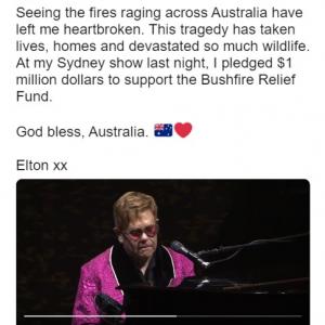 エルトン・ジョンがオーストラリアの森林火災の復興支援に100万ドルの寄付を約束