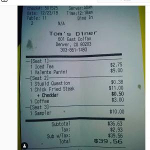 くだらない質問をすると38セント請求されるデンバーのレストラン