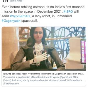 インド宇宙研究機関が女性型ハーフ・ヒューマノイド「Vyommitra」を発表 来年宇宙へのテスト飛行を予定