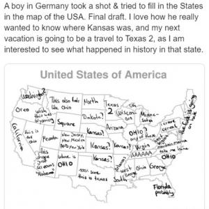 ドイツ人の少年がアメリカの州名を書いた地図 「アメリカ人の子供にヨーロッパの地図で同じことさせたらどうなるかな」