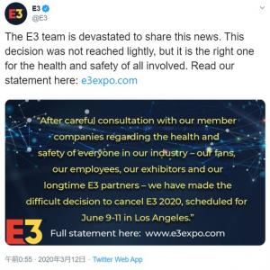 新型コロナウイルスの影響で世界最大級ゲーム見本市『E3』中止が決定 「今回の決定を支持するよ」「悲しいのは主催者だけじゃない」