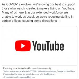 新型コロナウイルスの影響からコンテンツ審査の自動化をYouTubeが発表 結果として審査に通らない動画が増えると事前告知