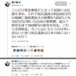 橋下徹さん 国会議員の報酬に「今こんなにもらうのは申し訳ないと思う国会議員は日本の国にはいないのか!」ツイートに反響
