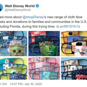 ディズニーも布マスクを発売 利益は医療用具を提供するNPO団体へ寄付