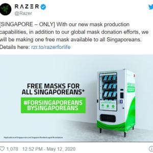 Razerがシンガポールで無料のマスク自販機設置 16歳以上の全国民に最高で500万枚のマスクを配布予定