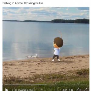 『あつまれ どうぶつの森』の釣りをAR(拡張現実)っぽく再現した動画 「『Pokémon GO』に対抗して『どうぶつの森 GO』がリリースされないかな」