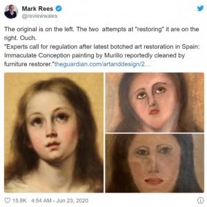 素人が絵画を修復しようとするとこうなります →ネット上で修復大喜利に発展