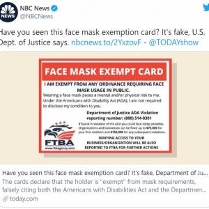 アメリカで「マスク着用免除カード」が出回る もちろんフェイクです
