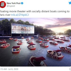 """フランスのセーヌ川に1日限定で""""水上映画館""""がオープン 電気ボートで無料映画鑑賞"""