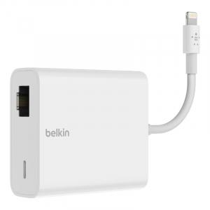 iPhoneやiPadを最大480Mbpsの有線LANに接続 ベルキンが「ライトニング to LANポート+ライトニング変換アダプタ」を7月22日に発売へ