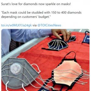 インドの宝石店がダイヤを散りばめたカスタムメイドのマスクを販売 「ウイルスじゃなくて、マスク狙いの強盗に殺されそう」