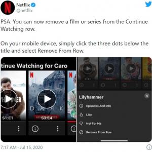 モバイル端末でNetflixの「視聴中コンテンツ」が削除できるように 「テレビ画面で操作できなきゃ意味ないよ」「もう見たくないコンテンツをブロックする機能が必要です」