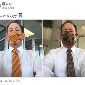 パパどうしたの? マスクとネクタイの統一感が凄すぎるお父さんが話題