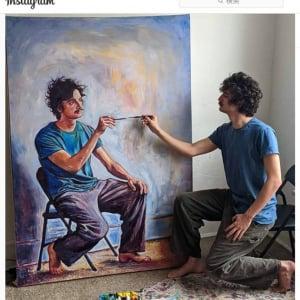 「絵を描いている自分の自画像」を描き続けていたら無限ループしてこうなりました