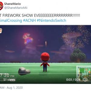 『あつまれ どうぶつの森』の最新アップデートを受けてTwitter上で「マイ花火」を公開するプレイヤーが続出